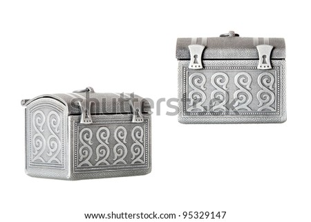 Two view of toy chest. Isolated over white.