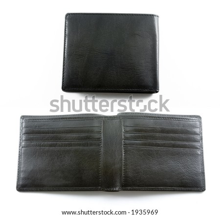 Two views of a bi-fold wallet