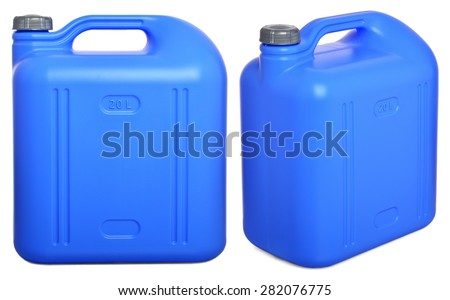 two views of blue plastic 20-liter gallon on a white background - stock photo