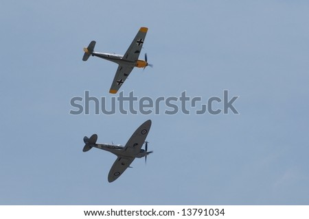 two vintage Aircraft in-flight