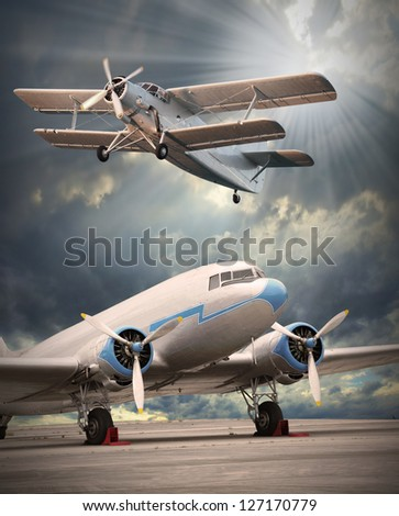 Two vintage aircraft on the runway. Retro style picture. - stock photo