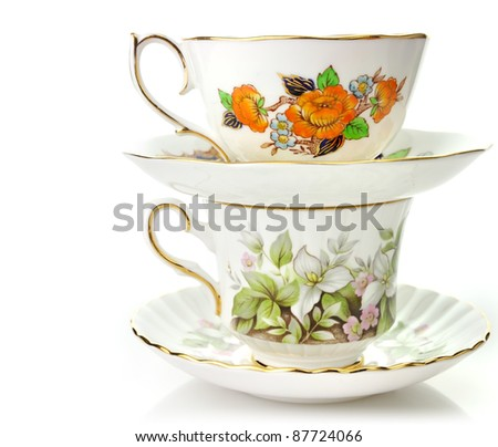 Two Vintage Coffee Or Tea Cups On White Background - stock photo