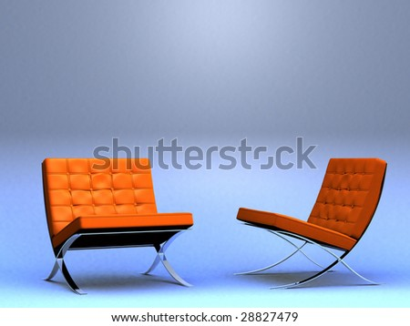 Two vintage designer chairs (3D render) - stock photo