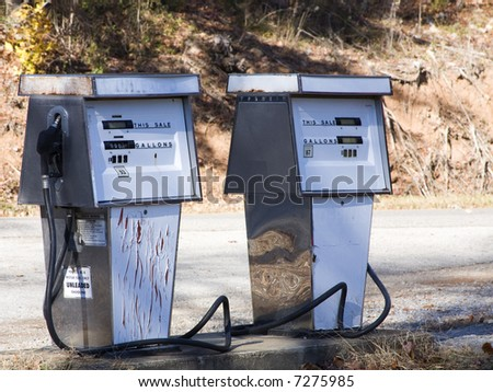 Two vintage gas pumps - stock photo