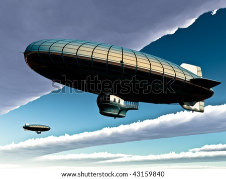 Two vintage metal plated Zeppelins pass each other in sky. Big clouds open blue sky. Conceptual, metaphor.Original illustration - stock photo