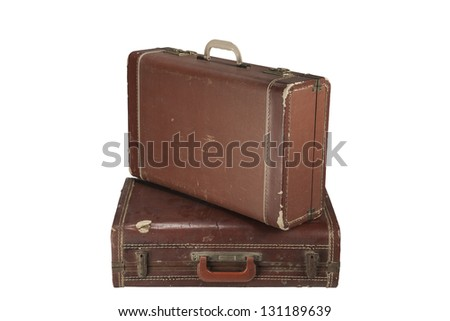 Two Vintage suit cases Isolated on white