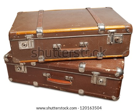 Two vintage suitcase isolated. Clipping path included.