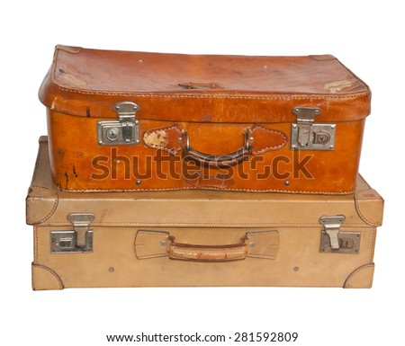 Two vintage suitcases, white background, clipping path. - stock photo