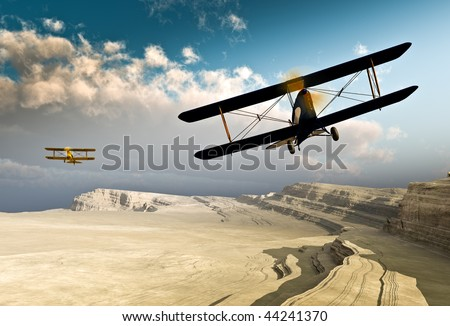 Two vintage World War I double wing BiPlanes / Planes flying over a deep rough canyon before a stratocumulus cloud front. Original Illustration - stock photo