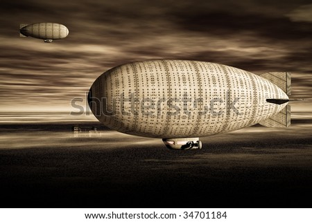 Two vintage Zeppelin blimps circle the city. Illustration  sepia tone - stock photo