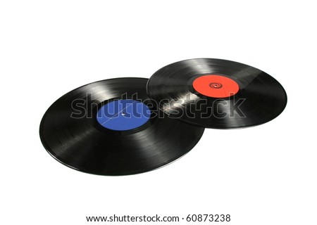 two vinyl records isolated on white background