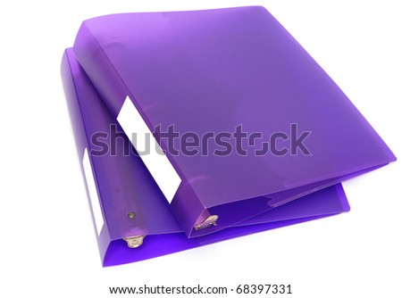 two violet binders on white background - stock photo