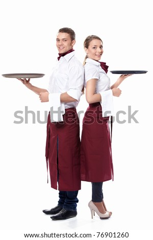 Two waiters on a white background