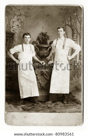 Two Waiters or Bakers - stock photo