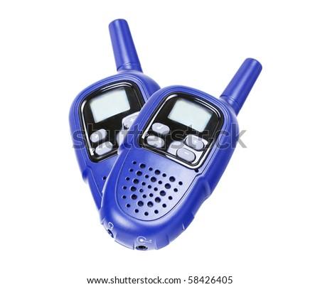 Two walkie-talkie, isolated on white - stock photo