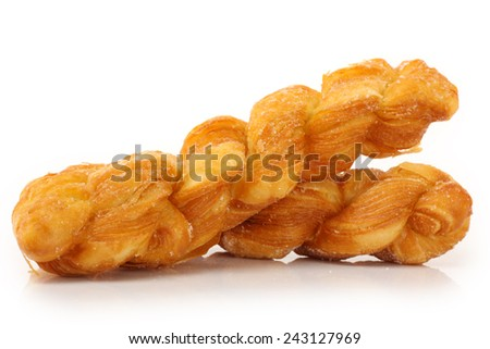 Two warm and chewy salted soft pretzels. - stock photo