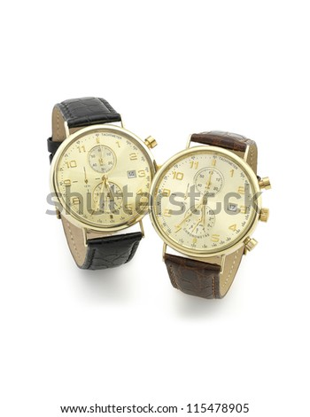 two watches on isolated white background