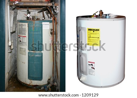"""Two water heaters: Old-New,""""Before-After"""" - stock photo"""