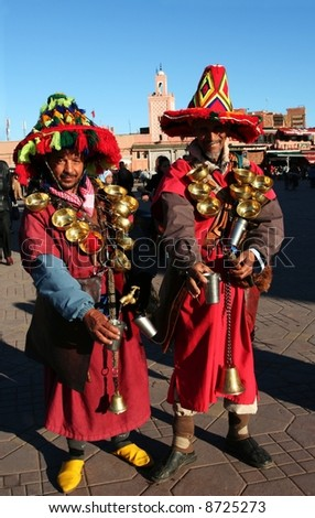 Two water sellers in Morocco, Africa - stock photo