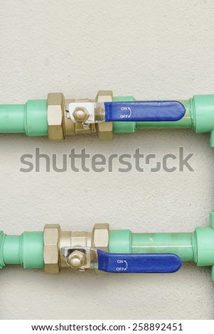 two water valves  - stock photo