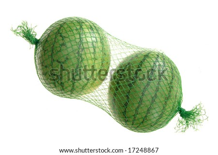 two watermelon in bag - stock photo
