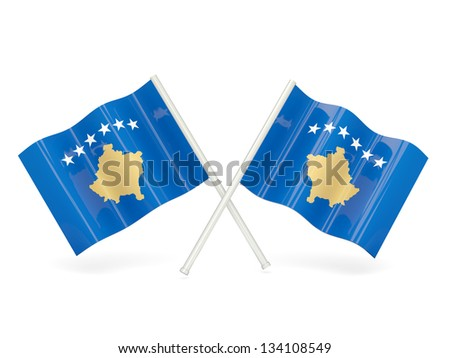 Two wavy flags of kosovo isolated on white