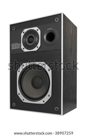 Two way hifi audio speaker, isolated - stock photo