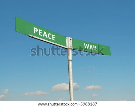 Two-way metal blue signpost with Peace and War indications over blue sky