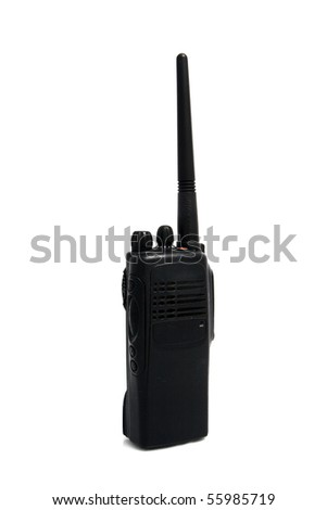 two-way radio on white background - stock photo