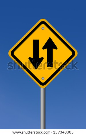Two way road sign - stock photo