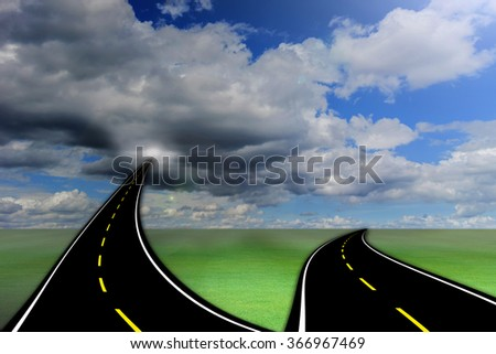 Two-way road suspended in the sky over the clouds. - stock photo