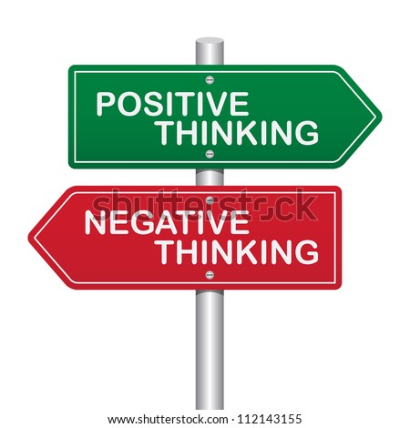 Two Way Street Sign with Positive Thinking and Negative Thinking concept. Isolated on white background - stock photo