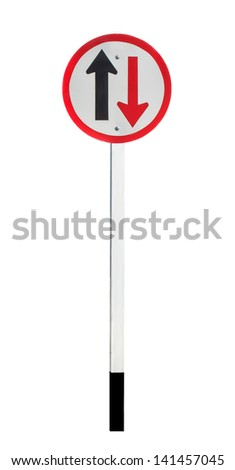 Two way traffic sign isolated on white background
