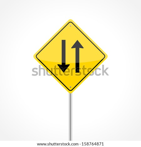 Two way traffic sign isolated on white background (raster illustration)