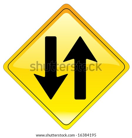 Two Way warning sign (us style) - stock photo
