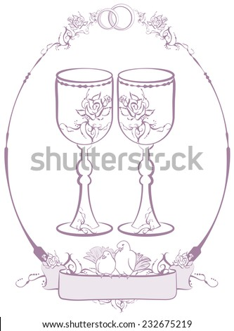 Two wedding glasses. Illustration  - stock photo