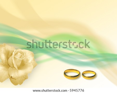 Two wedding golden rings in soft-colored background - stock photo