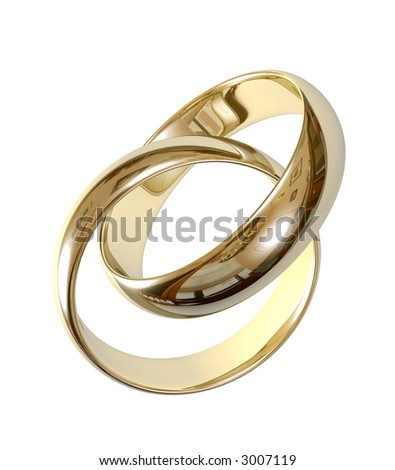 Two wedding ring on a grey background 3D - stock photo