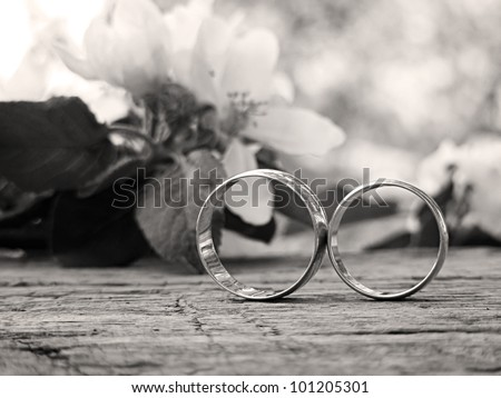 Two wedding rings and spring blossoms in black and white style - stock photo