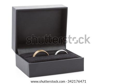 Two wedding rings in a jewelry box on white - stock photo