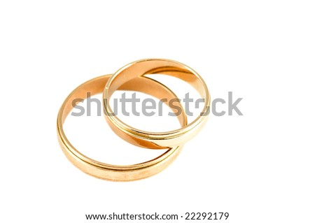 Two wedding rings isolated on a white - stock photo