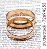 Two wedding rings on a bible - stock photo