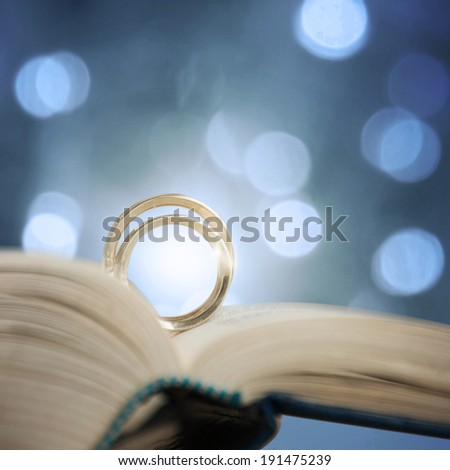 Two wedding rings on a bible page - stock photo