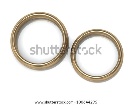Two wedding rings on the top view of a white background