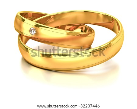 Two wedding rings with matt and glossy gold and diamond - stock photo