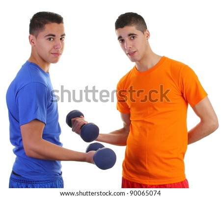 Two weightlifters one in orange and the other in blue
