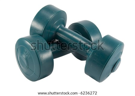 Two weights cross with white background. - stock photo