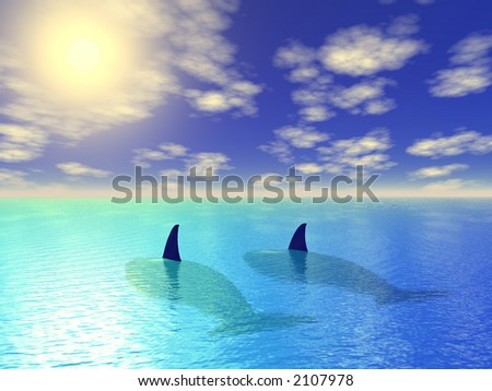 two whales in blue lagoon - stock photo