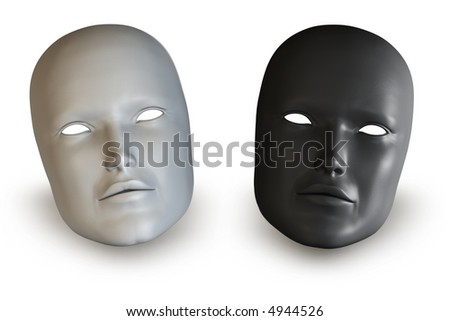 Two white and black women mask isolated over a white background.