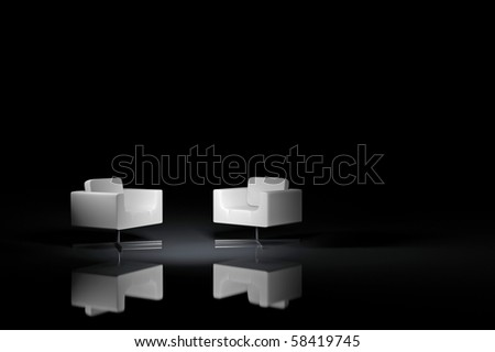 Two white armchairs on a black background - stock photo